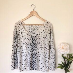 Joie | Wool Blend Animal Print V Neck Sweater